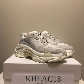 BALENCIAGA TRIPLE S WHITE EUR 45 US 12 CREAM MULTI BLANC RUNNER TRAINER SNEAKERS