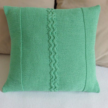Jade green14x14 knitted cushion, mint pillow case,  cable knit pillow, decorative pillow cover, couch pillow cover, teal knit throw