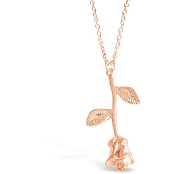 Simple Elegant Small 3D Rose Minimalist Style Necklace