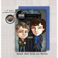 Sherlock and Watson - Blank Card with Button