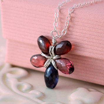 Gemstone Necklace Garnet Rhodolite Iolite AAA Semiprecious Red Raspberry Navy Wire Wrapped Sterling Silver Jewelry Complimentary Shipping