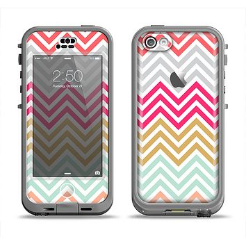 The Three-Bar Color Chevron Pattern Apple iPhone 5c LifeProof Nuud Case Skin Set