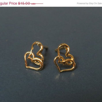 SALE 20% Gold heart earrings, tiny earrings cartilage, stud earrings cartilage, bridesmaid gift jewelry