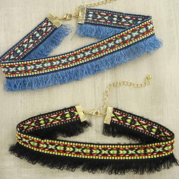 Tribal Print Fringe Choker Necklace