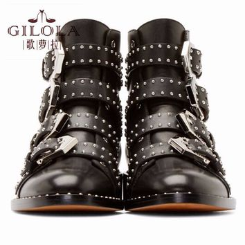 genuine leather boots new ankle motorcycle rivets women boots fashion shoes women autu