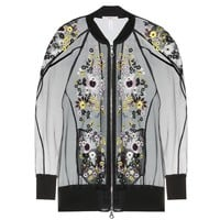 erdem - dani embroidered silk-blend organza bomber jacket