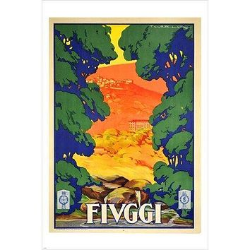 FIUGGI TOWN IN CENTRAL ITALY vintage travel poster BRIGHT COLORFUL 24X36 new