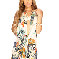 Cream Floral Sleeveless Plunging Neckline Sexy Summer Casual Dress