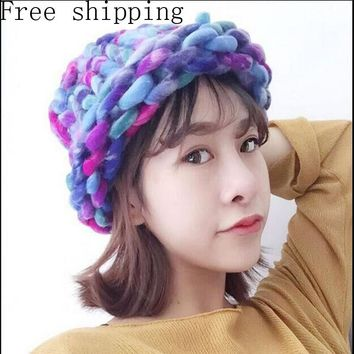 Fashion Women Hat Super Thick Yarns Hand Woven Knitted Hat Winter Warm Slouch Beanie Ski Cap Coarse Line Thick Wool Crochet Hat