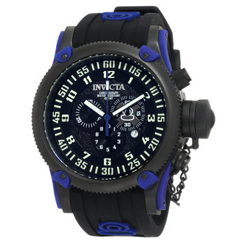 Invicta 10180 Men's Russian Diver Black Ion Plated Steel Black Dial Blue Accents Black Rubber Strap Chronograph Watch