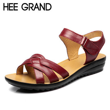 HEE GRAND Soft Artifical Leather Mother Shoes Peep-toe Narrow Band Gladiator High Quality Women Sandals XWZ2409