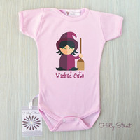 Wicked Cute Baby Girl Bodysuit. Halloween Baby Clothing. Baby's First Halloween. Pink Halloween Baby Outfit. Cute Baby Clothes