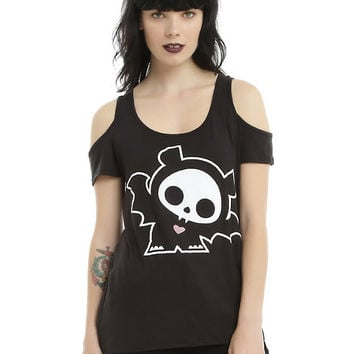 Skelanimals Diego Bat Girls Cold Shoulder Top