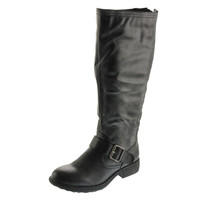 Pink & Pepper Womens Cleo Faux Leather Wide Calf Motorcycle Boots