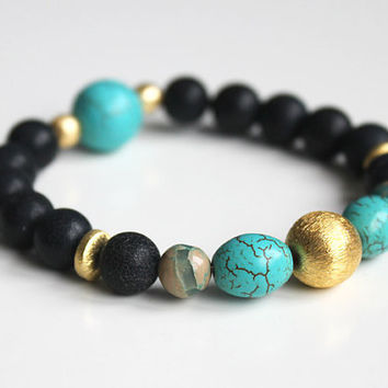 Egyptian // beaded stretch bracelet - gemstone bracelet - black, golden, turqouise - ethno style - beaded handmade jewelry for women