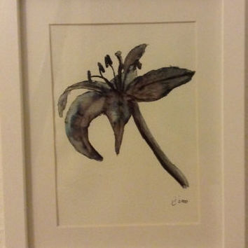 Lily, watercolor drawing, black and white