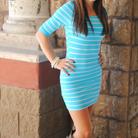 SHOWSTOPPER STRIPES DRESS IN AQUA