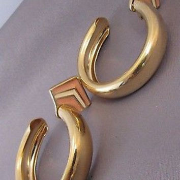 "Vintage Trifari 2.5"" Hoop Earrings Pink & White Enamel"