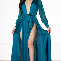 Indie XO Loving the Limelight Emerald Green Long Sheer Sleeves Plunge V Neck Tie Waist Slit Front Maxi Dress
