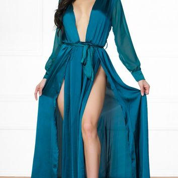 bffc450052 Indie XO Loving the Limelight Emerald Green Long Sheer Sleeves P