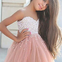 Cute Beautiful 2016 MGS Pink A-Line Sheer Neck Sweetheart Pearls Knee-Length Soft Tulle Flower Girl Dresses  Girl Pageant Gown