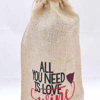 Wine Gift Bag - Valentine's Day Present - Bridal Shower Gift - Best Friend Present - Hostess Gift - Divorce Celebration Gift