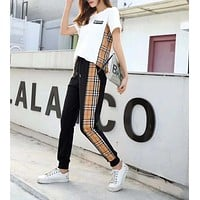 """Burberry"" Woman Leisure Fashion Letter Lattice Printing Crew Neck Hedging Short Sleeve Tops Trousers Two-Piece Set Casual Wear Sportswear"