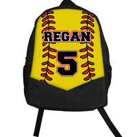 Custom Personalized SOFTBALL Fastpitch Childrens Kids Girls Backpack tote School Camp Monogram Yellow Red Sports