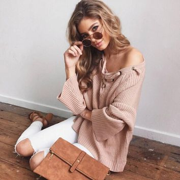 Women Solid Color Tied Rope V-Neck Loose Long Sleeve Irregular Knitwear Sweater