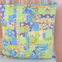 Patchwork cushion pillow cover with applique flowers in blues and greens