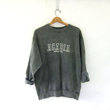 vintage Acadia National Park pigment dyed sweatshirt. oversized pullover sweater. size M