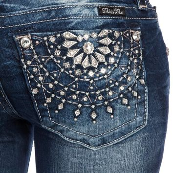 Miss Me Jeans Floral Bling Pocket JP5928B2