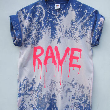 Acid Wash Grunge Rave Pink Tie Dye Bleached Festival Dripping Letters Tumblr T Shirt - Size Medium