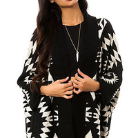 Reverse Cardigan The Tribal Sweater in Black & White