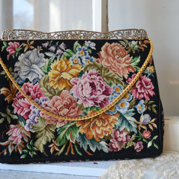 Etsy Transaction -          Reserved......Walborg Floral Petit Point Vintage Purse with Accessories