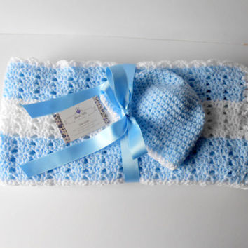 Crochet Baby Blanket. Baby Boy Blanket. Baby Boy gift Set. Crochet Blue Blanket with Hat set. Blue Baby afghan.  Shower Gift. Irish Blanket