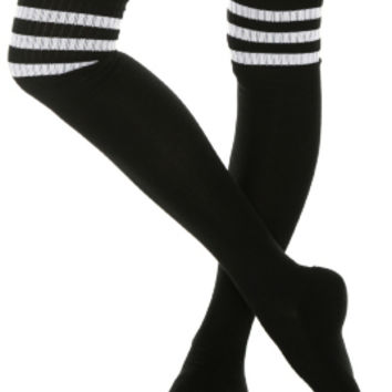 Black And White Cushioned Knee-High Crew Socks