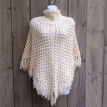 Vintage shawl | Oversized white crochet lace open knit boho fringed shawl scarf
