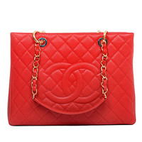 Chanel Red Quilted Caviar Grand Shopper Tote (GST) Bag