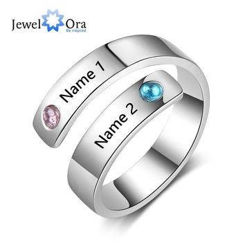 Personalized Gift Birthstone Engraved Names Adjustable Rings For Women Promise Love Anniversary Jewelry (JewelOra RI103501)