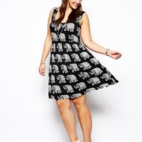 ASOS CURVE Button Front Dress In Elephant Print