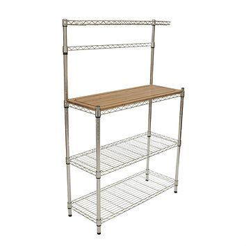 Metal Bakers Rack with Hanging Bar & Bamboo Cutting Board