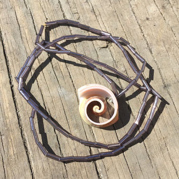 Purple spiral shell beaded necklace