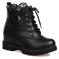 Black Floral Pattern Lace Boots with Lace Up