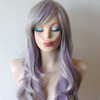 Spring Special // Gray / Lavender wig. Long wavy hair wig. Gray / purple color wig.  Fashion color natural style wig.