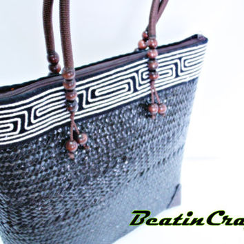 The Unique modern concepts Basket bag Woven Weave from Sedge(Plant) mixed with Hmong Fabric gorgeous bag for daily use.