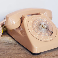 Vintage Pink Rotary Phone, Light Beige Dial Phone, Princess Phone made by AGT, Mid century telephone