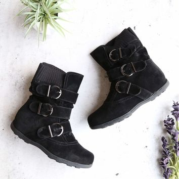 elma - faux suede buckle sweater knit flat ankle boot - black