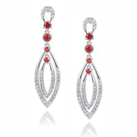 Double Marquise Shape W. Red and Clear Cubic Zirconia Chandelier Earrings