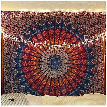 Orange and Blue Radical Mandala Tapestry  54x72in